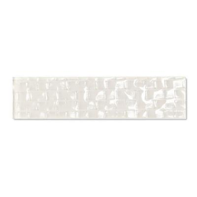 Metro Cubes Creme Deco 2 in. x 8 in. Glossy Glass Wall Tile (1 Sq. ft./Pack)