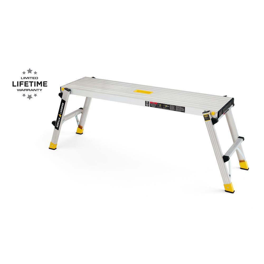 47.25 in. x 12 in. x 20 in. Aluminum Slim-Fold Work Platform, 300 lbs. Load Capacity