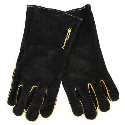 Large Men's Black Leather Welding Gloves