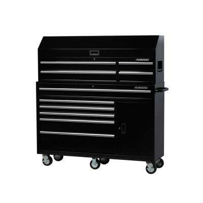 61 in. W x 18 in. D 10-Drawer 1-Door Tool Chest and Cabinet Combo in Black