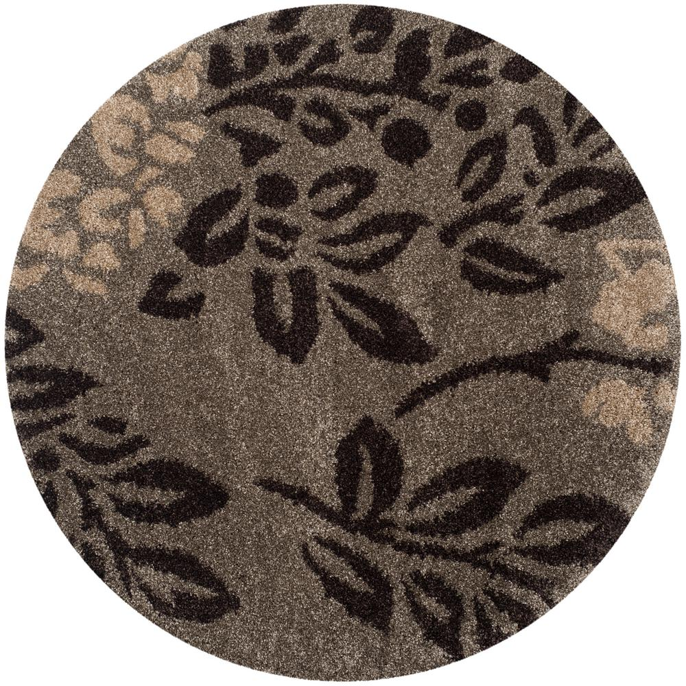 Florida Shag Smoke Dark Brown 5 Ft X Round Area Rug