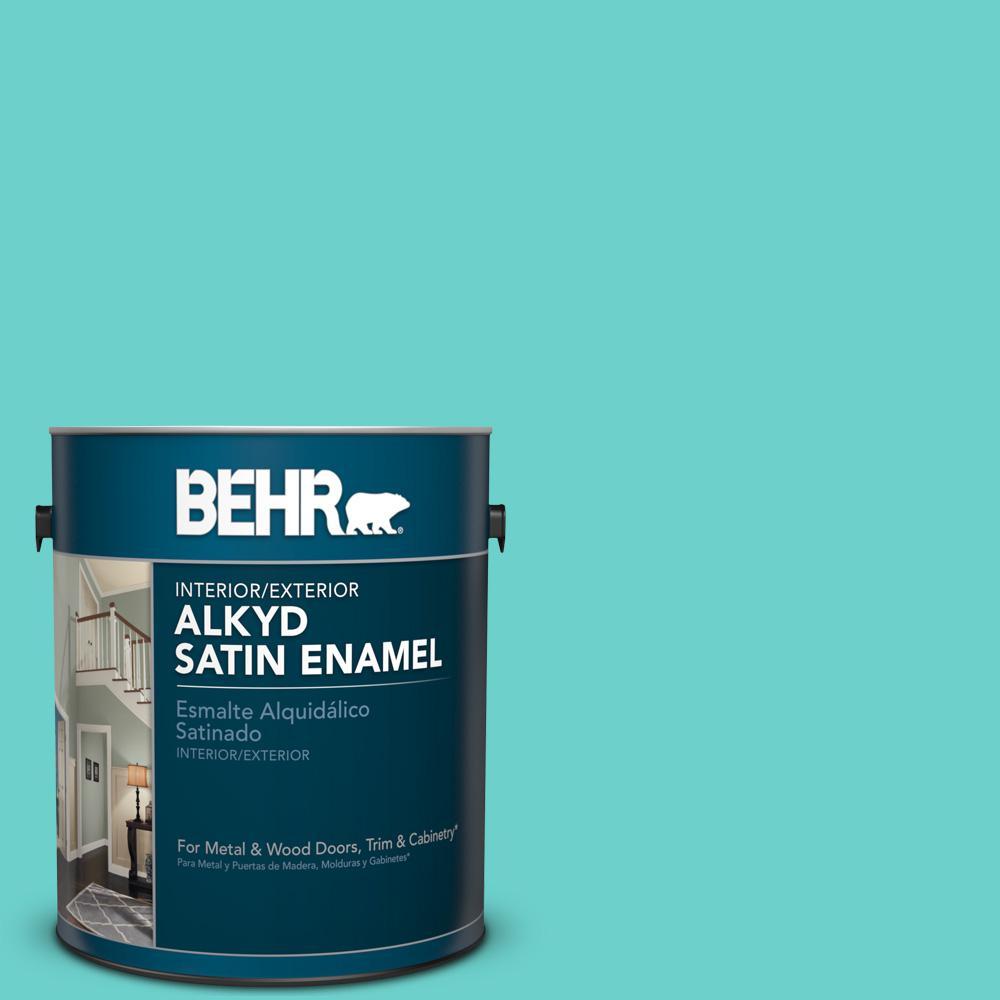 1 gal. #AE-38 Water Pool Satin Enamel Alkyd Interior/Exterior Paint