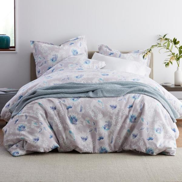 Dana Floral Garment Wash 3-Piece 200-Thread Count Organic Cotton Percale Queen Duvet Cover Set