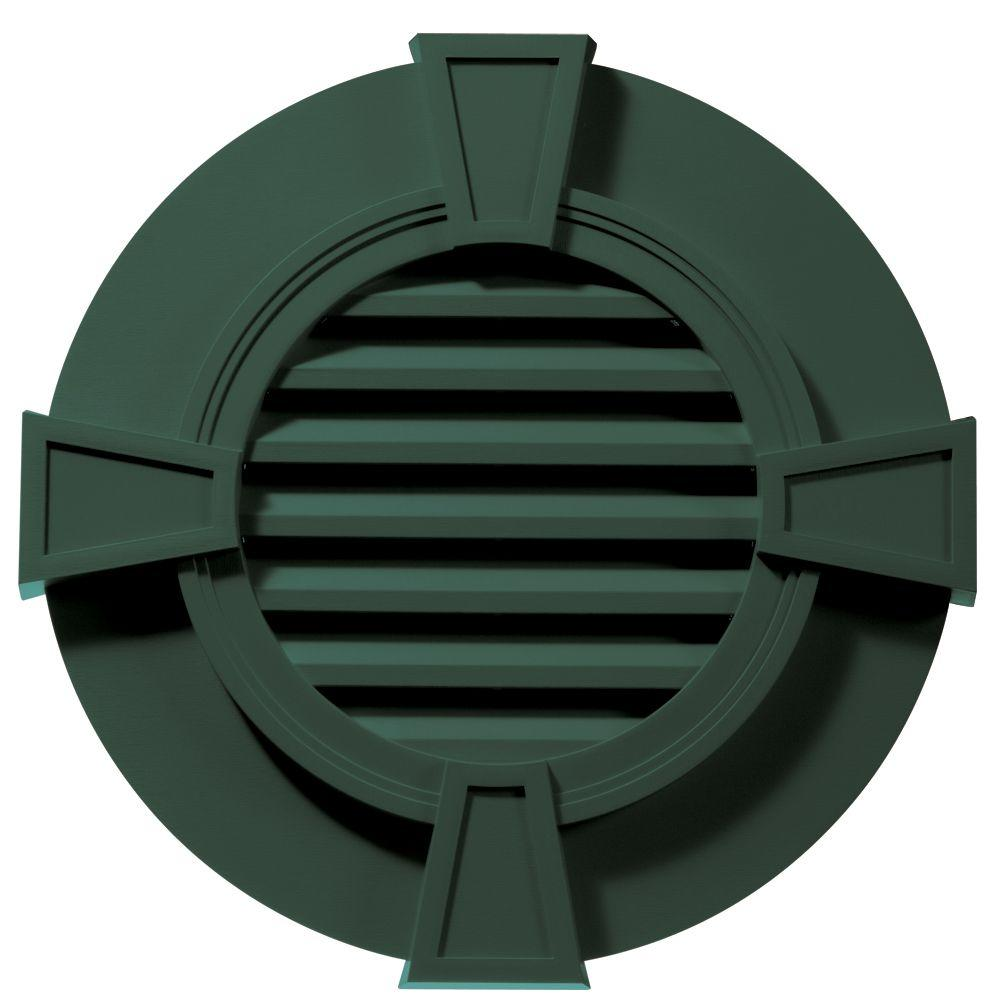 30 in. Round Gable Vent with Keystones in Forest Green