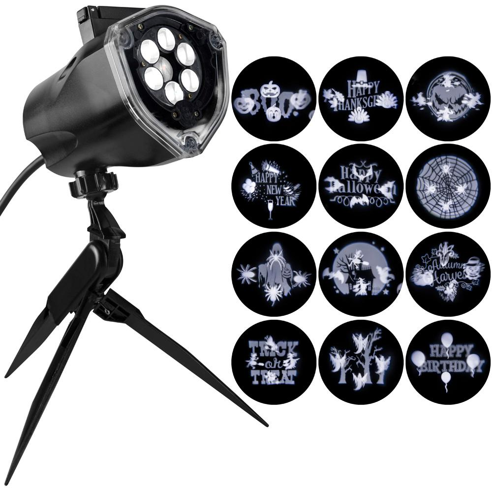 LightShow LightShow 1-LED Light Projection-Whirl-A-Motion Plus Static Stake with 12-Halloween Slides (White)