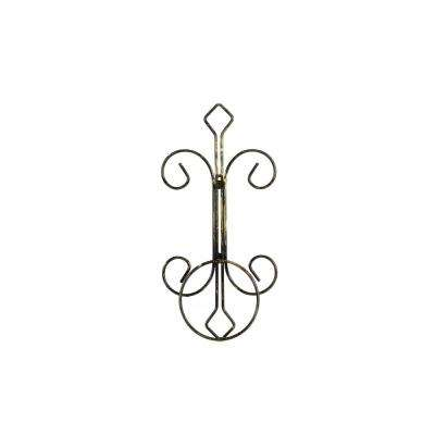 16 in. Single Pot Cast-Iron Crest Wall Planter Decor