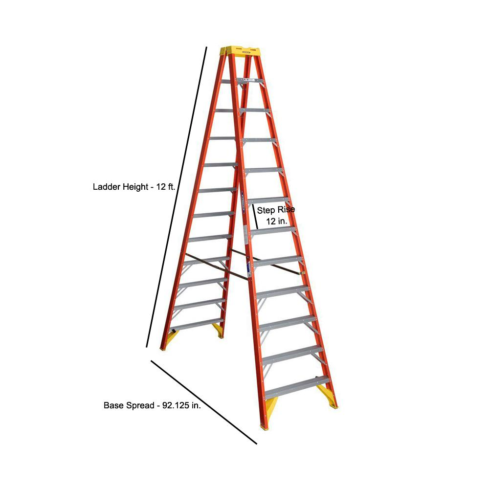 Werner 12 Ft Fiberglass Twin Step Ladder With 300 Lbs Load Capacity Type Ia Duty Rating T6212 The Home Depot