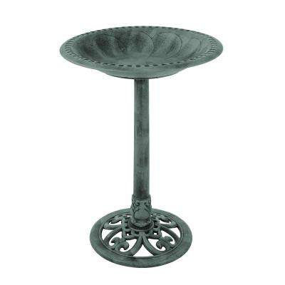 Weather Resistant Antique Bird Bath in Patina Green