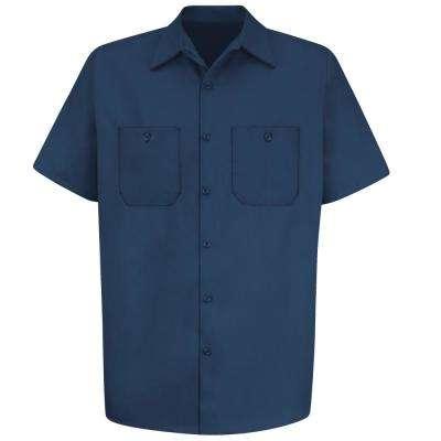 Men's Size M Navy Wrinkle-Resistant Cotton Work Shirt
