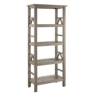 54.45 in. DriftWood Wood 4-shelf Etagere Bookcase with Open Back