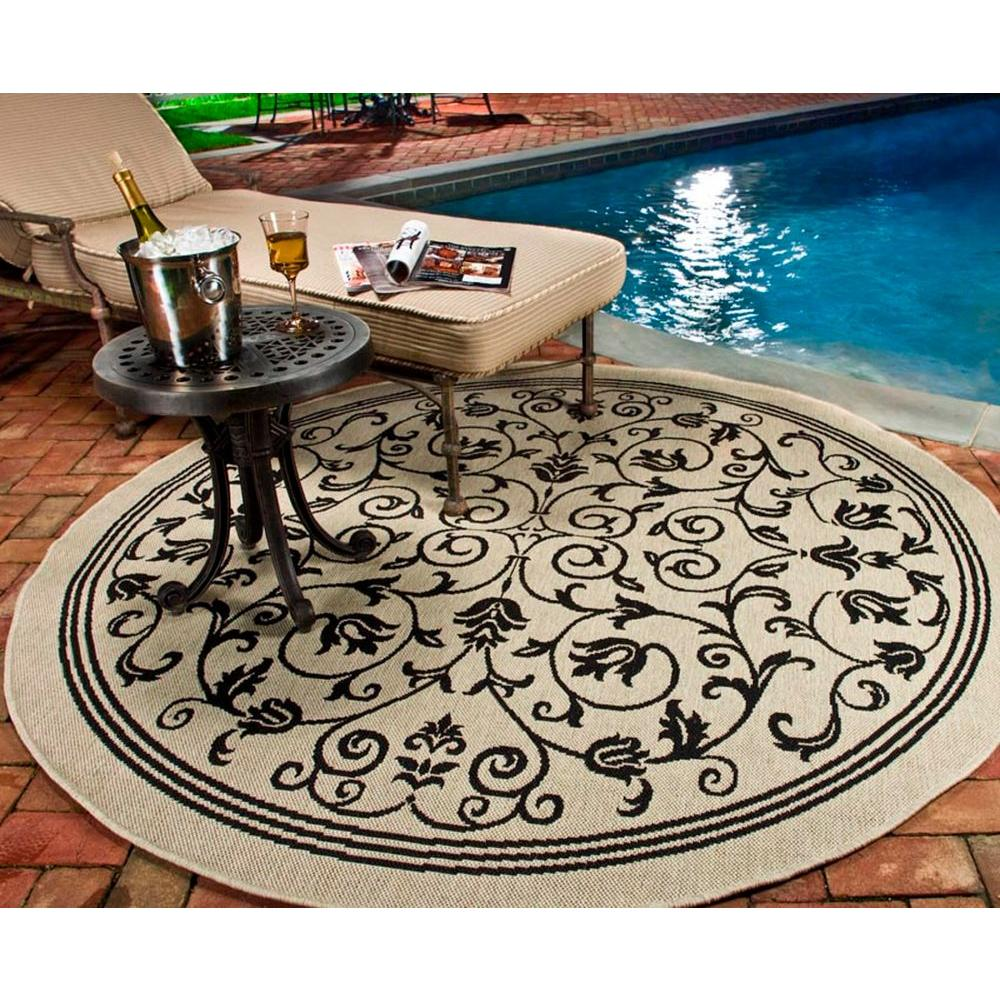 Safavieh Courtyard Sand/Black 7 ft. 10 in. x 7 ft. 10 in. Indoor/Outdoor Round Area Rug