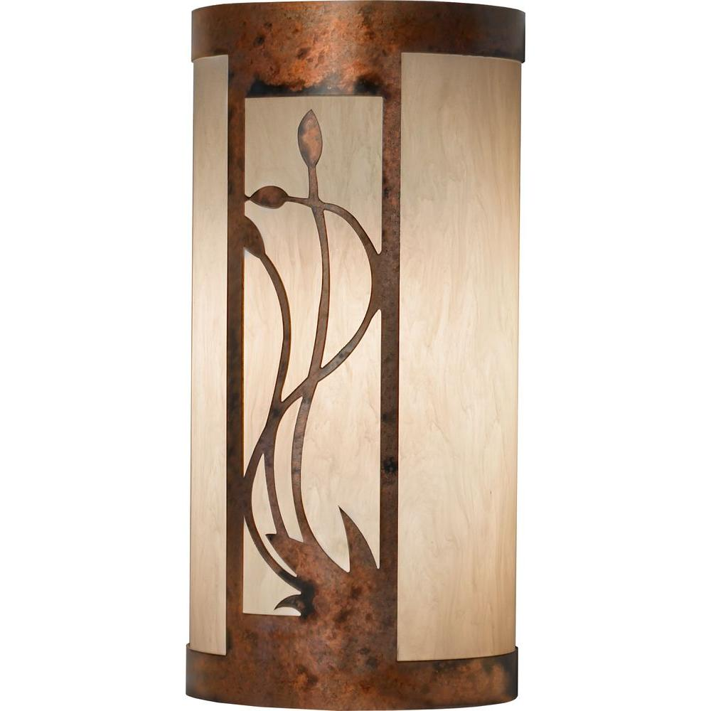 Filament Design 1-Light 14 in. Burled Copper Plate Exterior Wall Sconce with Faux Alabaster Shade