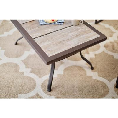 Crestridge Steel Outdoor Patio Coffee Table with Tile Top