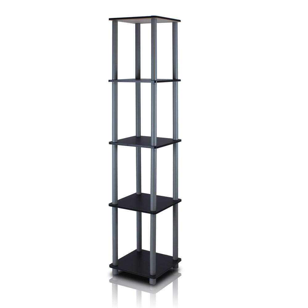 Turn-N-Tube Black Corner Open Bookcase