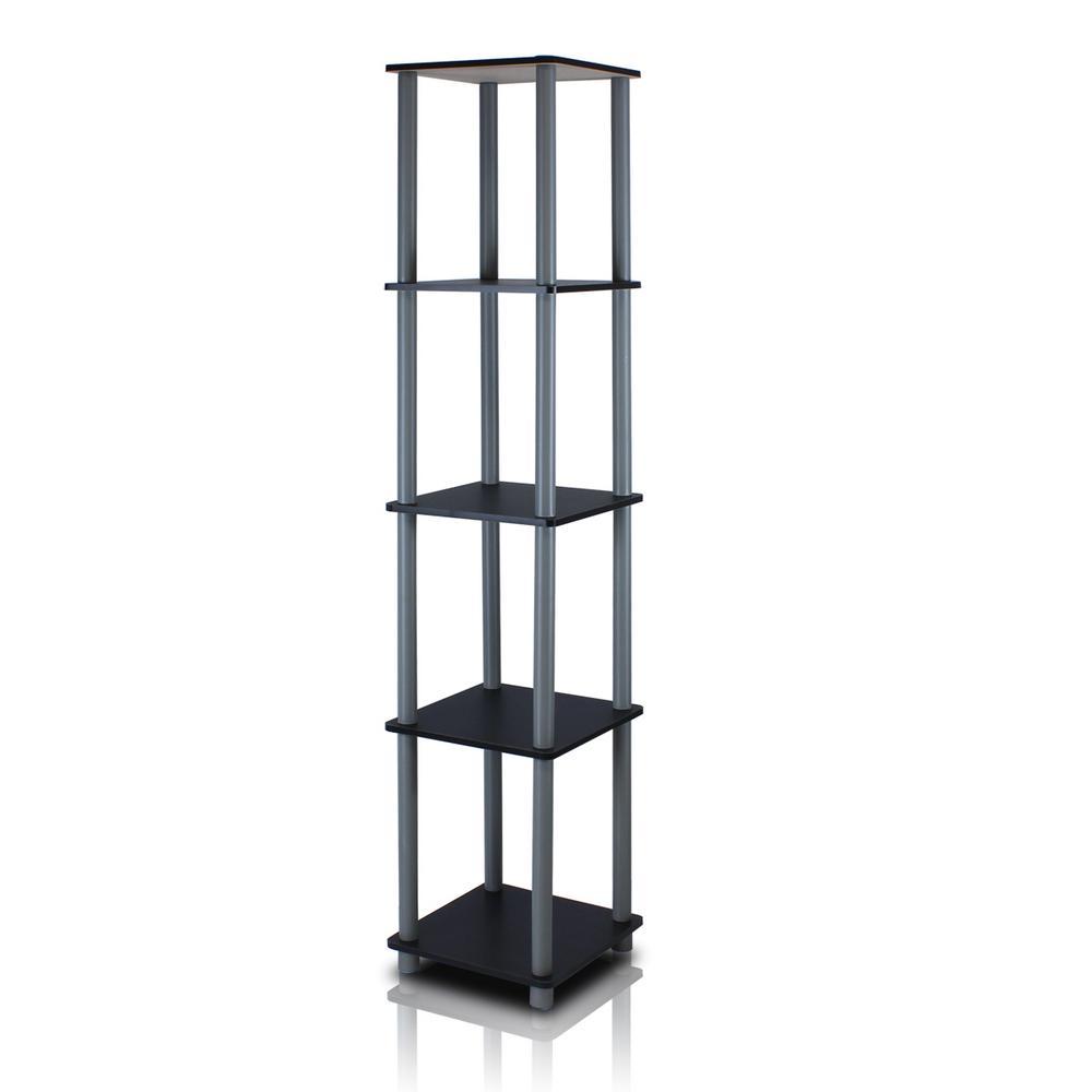 57.6 in. Black/Gray Plastic 5-shelf Corner Bookcase with Open Storage