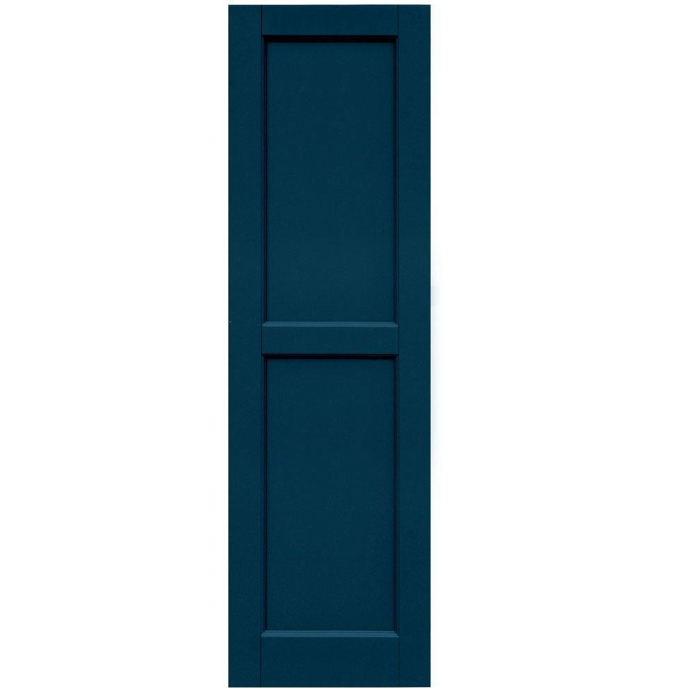 Winworks Wood Composite 15 in. x 51 in. Contemporary Flat Panel Shutters Pair #637 Deep Sea Blue