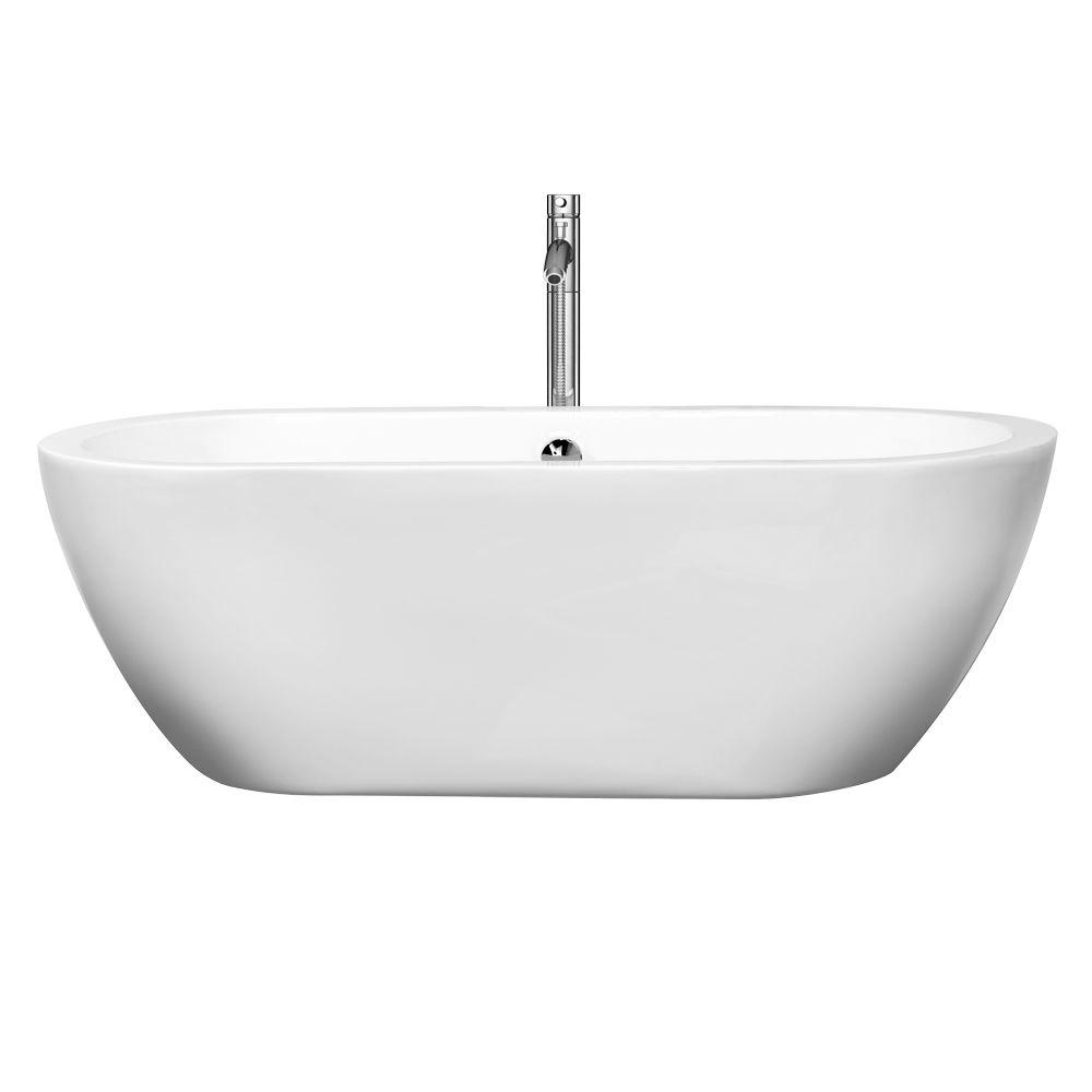 Wyndham Collection Soho 68 in. Acrylic Flatbottom Center Drain Soaking Tub in White with Floor Mounted Faucet in Chrome