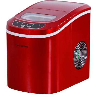 26 lbs. Freestanding Ice Maker in Red