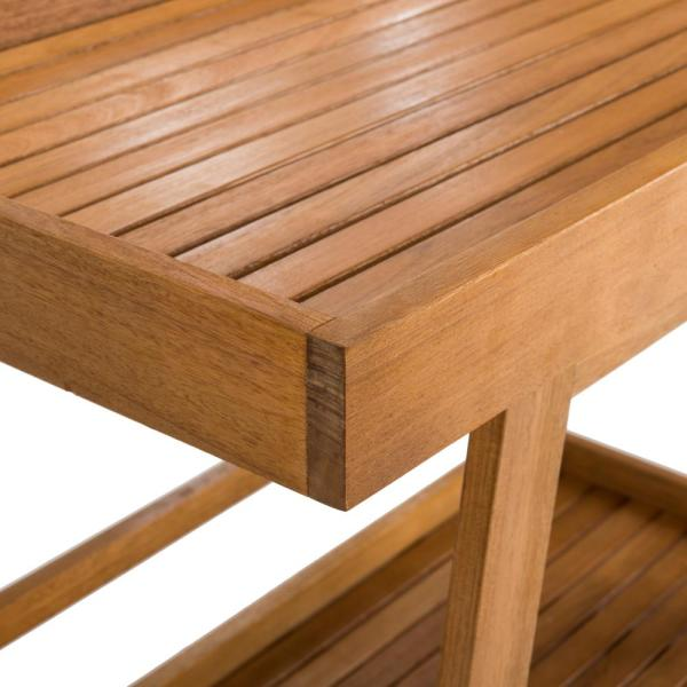 Small Eucalyptus Wood Rolling Cart Patio Lawn Garden Outdoor Kitchen Appliances Storage