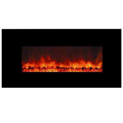Romancer 40 in. Wall-Mount Electric Fireplace in Sleek Black