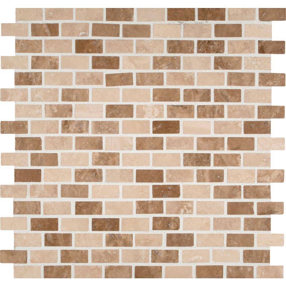 Chiaro Tile Backsplash: MSI Noche/Chiaro Mini Brick 12 In. X 12 In. X 10 Mm Honed