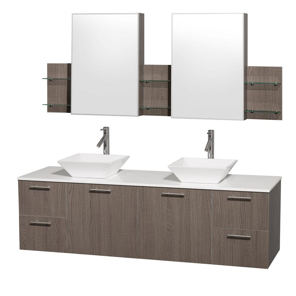 Amare 72 in. Double Vanity in Grey Oak with Man-Made Stone