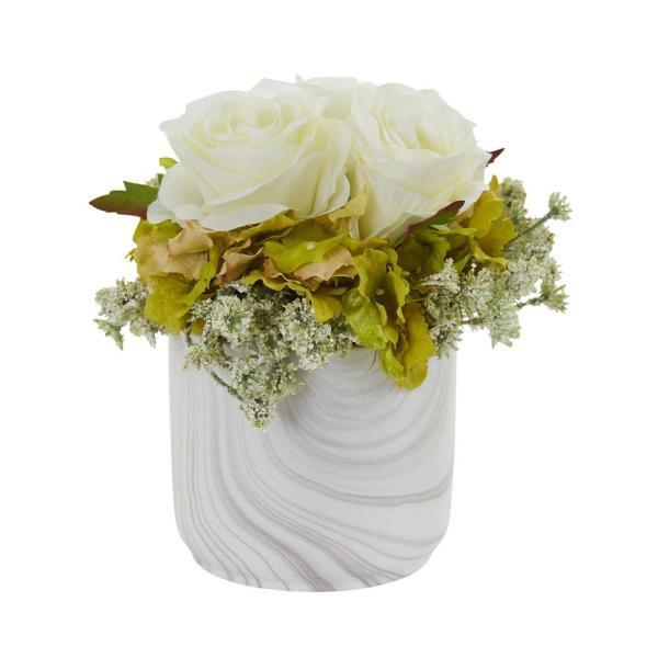 Nearly Natural Indoor Rose and Hydrangea Artificial Arrangement in Marble Finished Vase