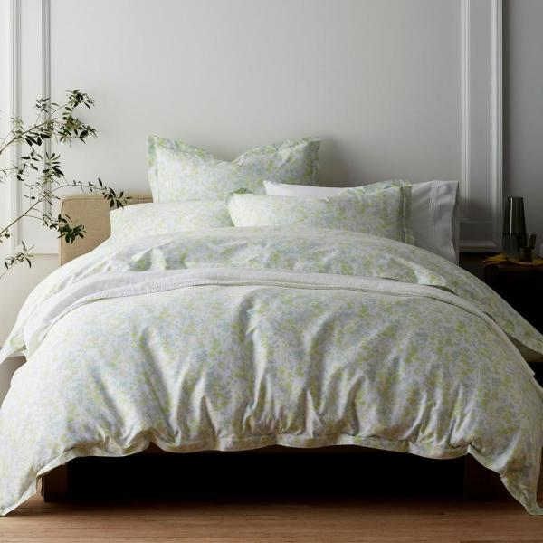 The Company Store Shadow Floral Sateen Glacier Queen Duvet Cover