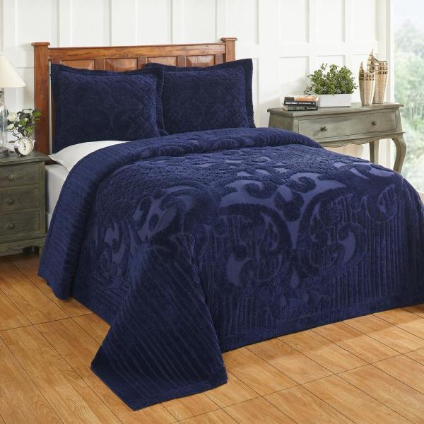 Ashton Collection in Medallion Design Navy Queen 100% Cotton Tufted Chenille Bedspread