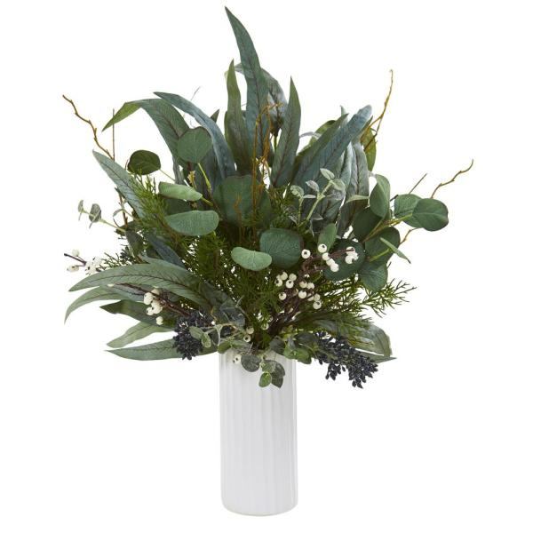Nearly Natural 22 in. Eucalyptus Artificial Plant in White ...
