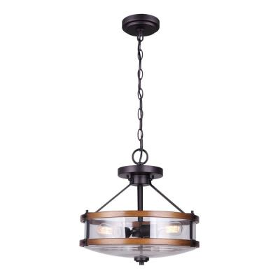 Canmore 3-Light Oil Rubbed Bronze and Brushed Wood Chandelier with Clear Glass Shade