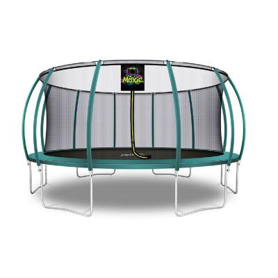 16 ft. Dark Green Pumpkin-Shaped Outdoor Trampoline Set with Premium Top-Ring Frame Safety Enclosure