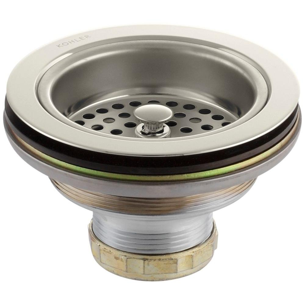 KOHLER 4-1/2 in. Manual Sink Strainer in Vibrant Polished Nickel