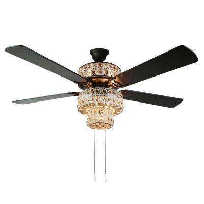 Bohemian 52 in. Indoor White Punched Metal Ceiling Fan with Light