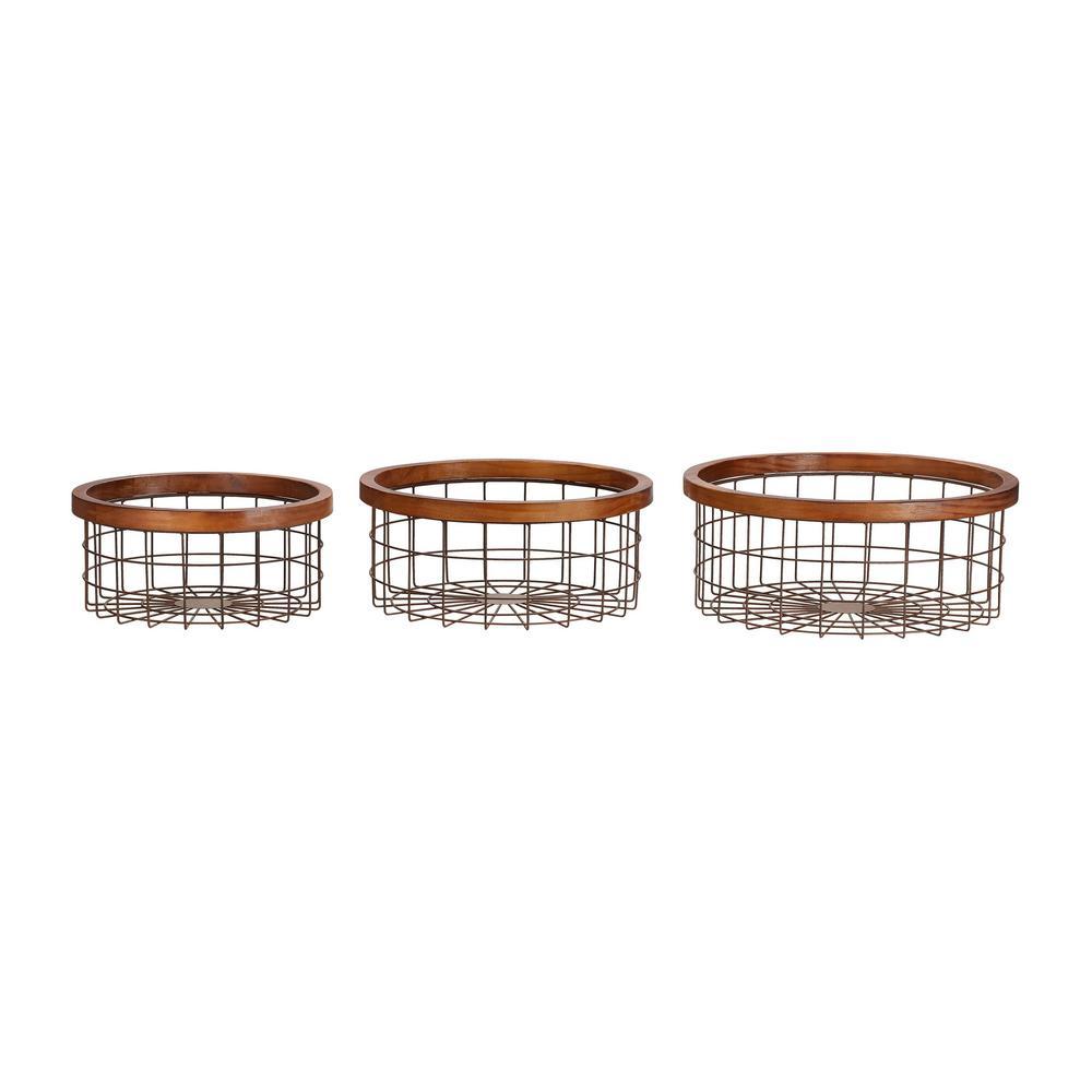 Home Decorators Collection Round Bronze Metal Decorative Basket with Wood Trim (Set of 3)