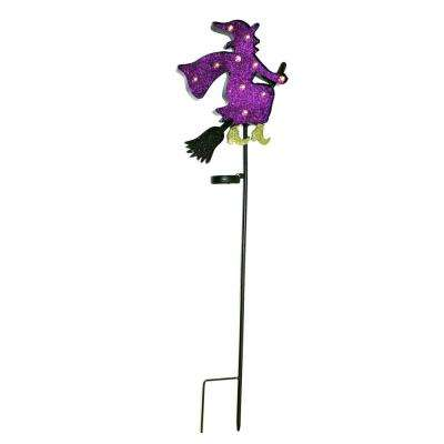 40 in. Metal Witch Stake with 10-Solar Lights