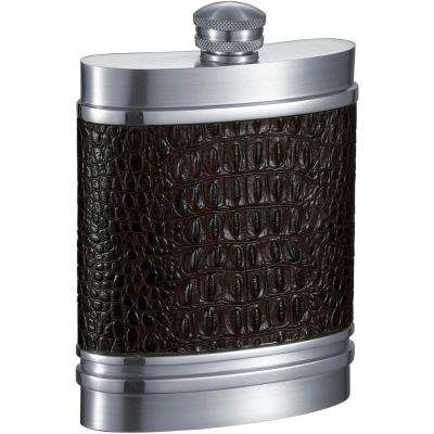 Jared Handcrafted Brown Leather Pewter Liquor Flask