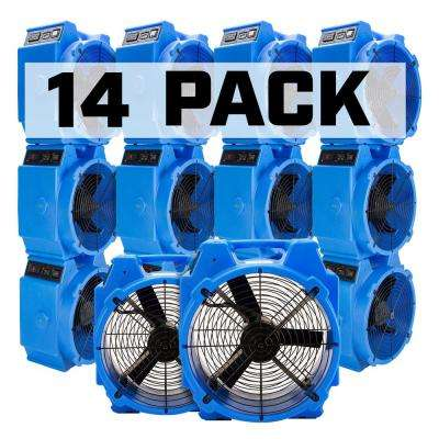 1/4 HP Polar Axial Blower Fan High Velocity Air Mover for Water Damage Restoration in Blue