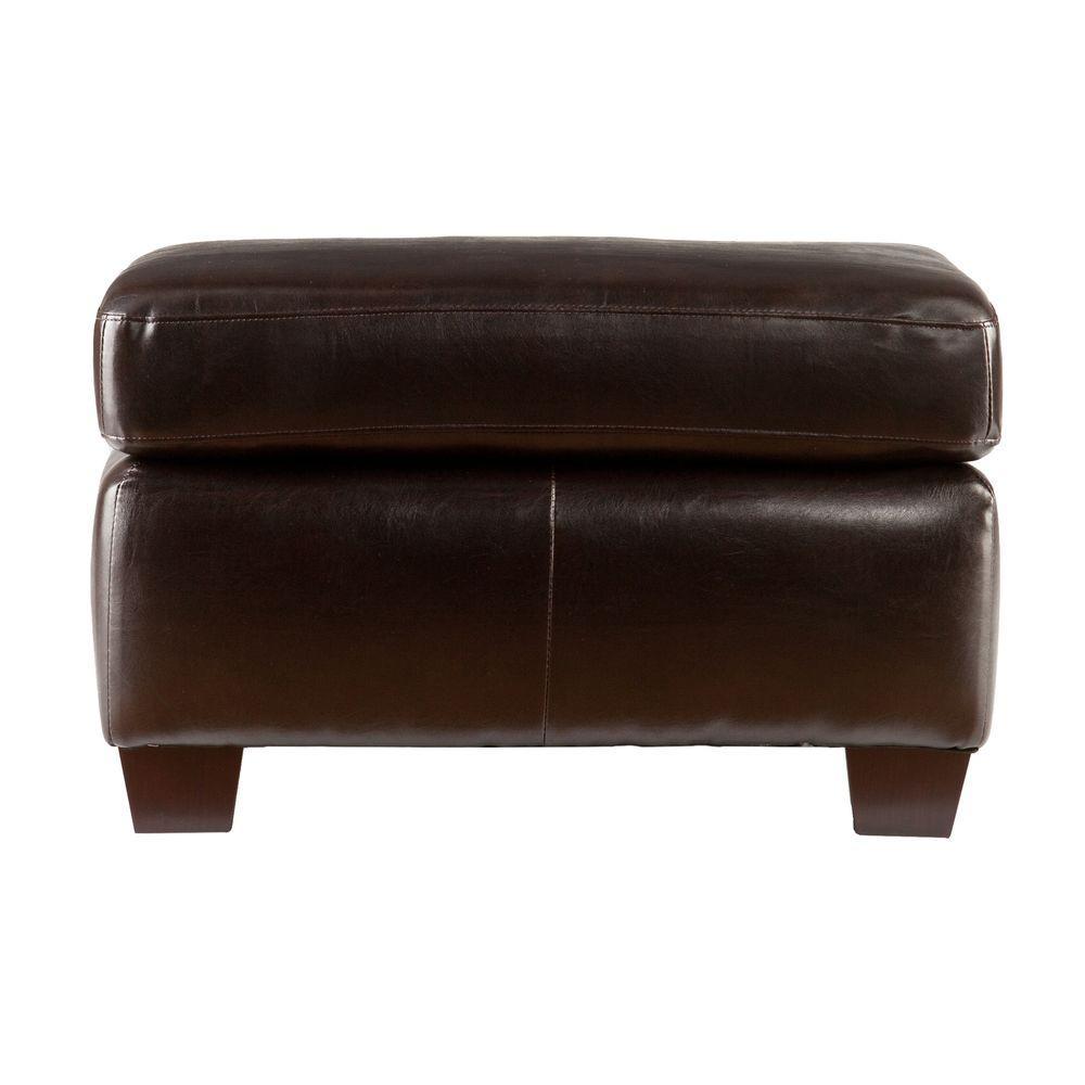 Southern Enterprises Donatello Brown Leather Ottoman