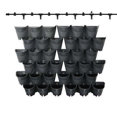 12 Sets of 3-Pockets Gray Self-Watering Wall Planter with Drip System