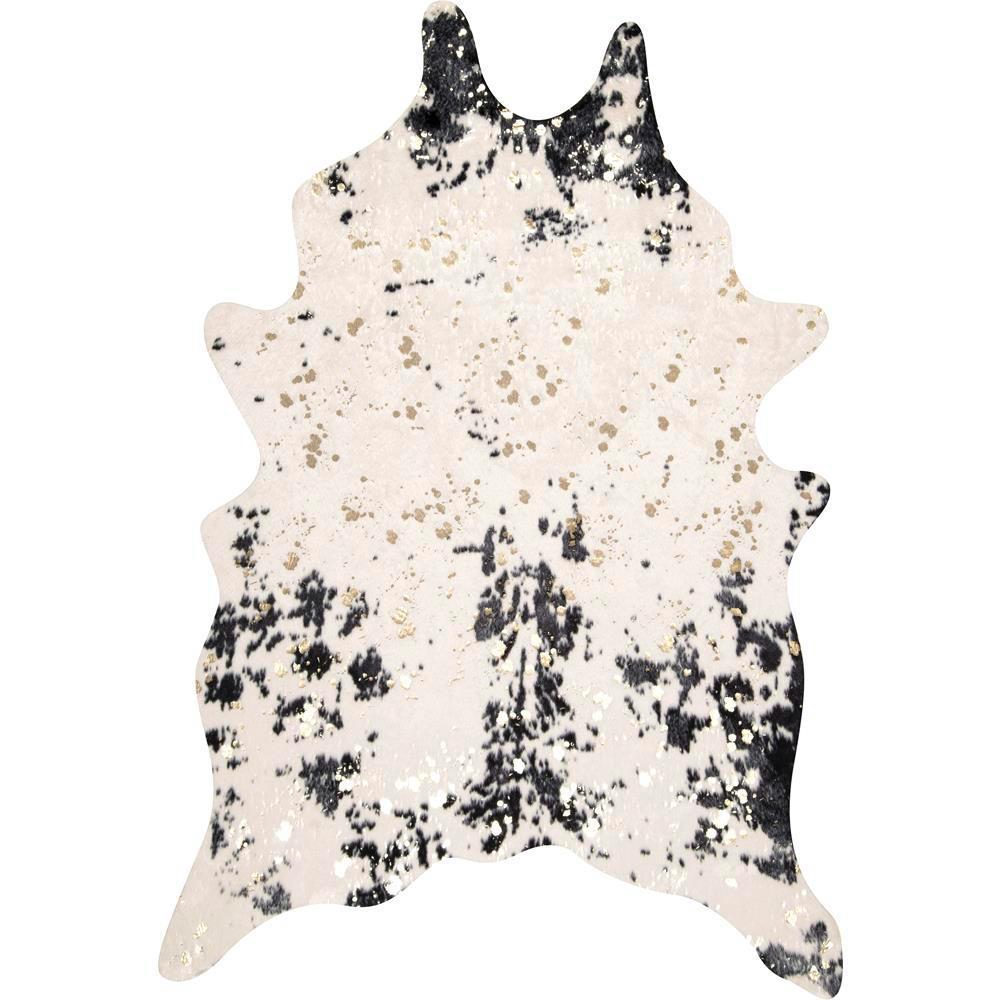 Stylewell Iraida Faux Cowhide Off White Black 4 Ft X 5 Area Rug