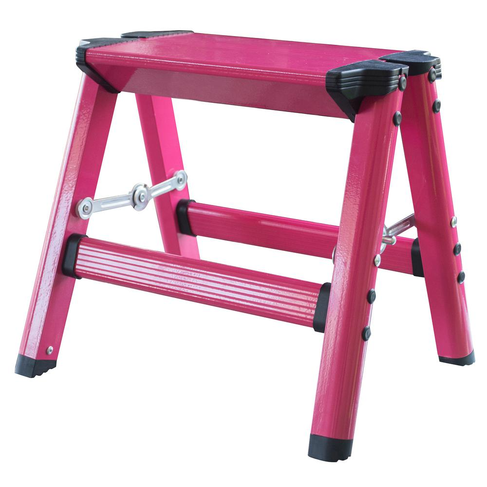AmeriHome Aluminum Single Step Folding Stool with 330 lbs. Load Capacity in Neon Pink