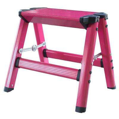 Aluminum Single Step Folding Stool with 330 lbs. Load Capacity in Neon Pink