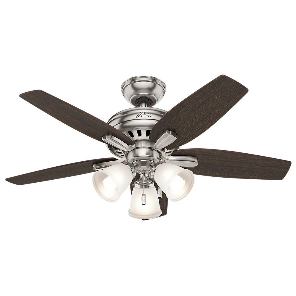 42 ceiling fan with light white home depot hunter newsome 42 in indoor brushed nickel ceiling fan with 3light