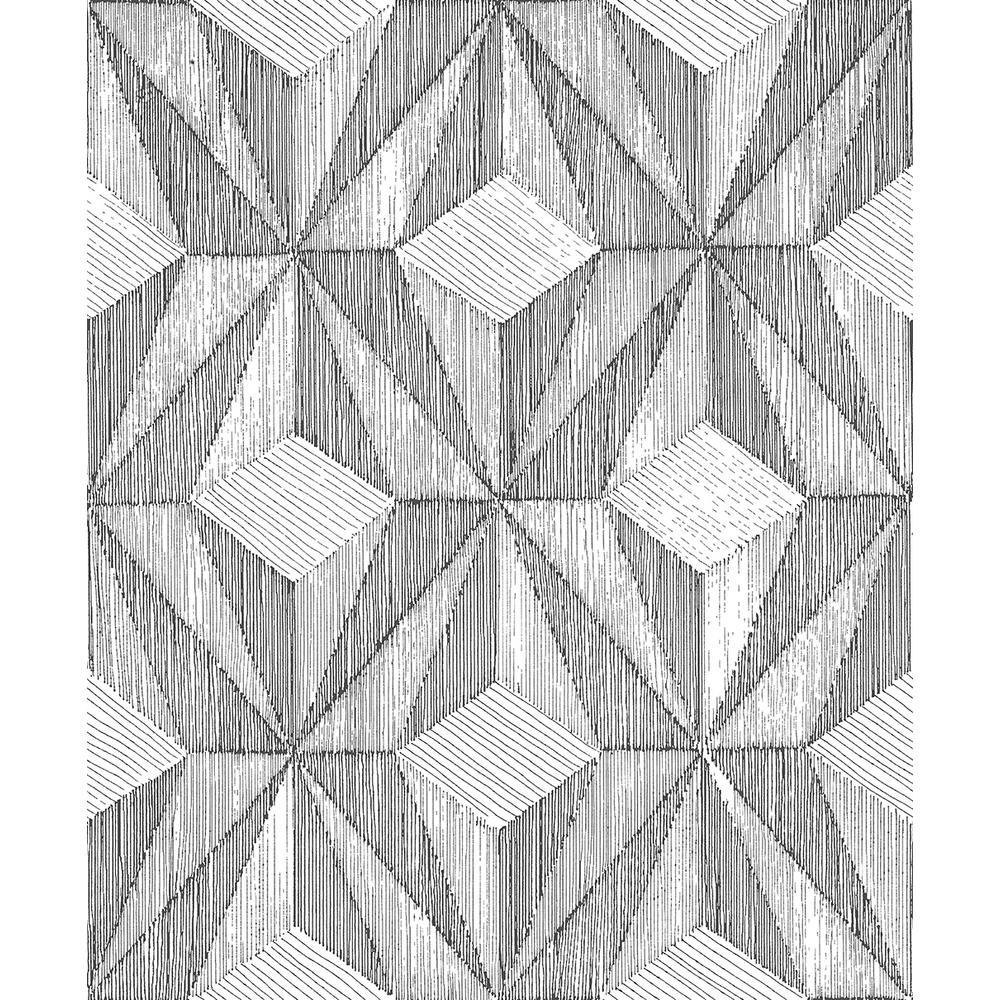 A-Street 8 in. x 10 in. Paragon Black Geometric Wallpaper Sample