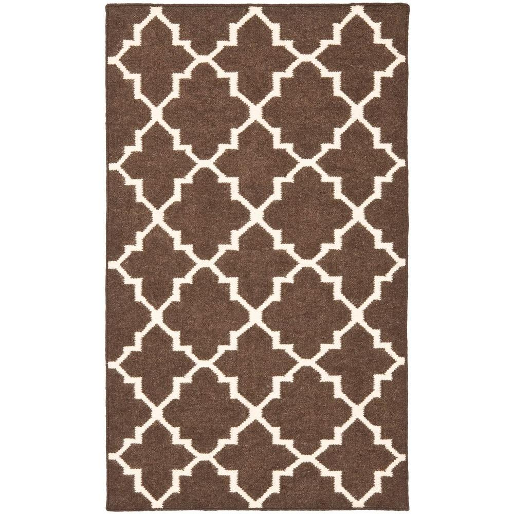 Safavieh Dhurries Brown/Ivory 4 Ft. X 6 Ft. Area Rug