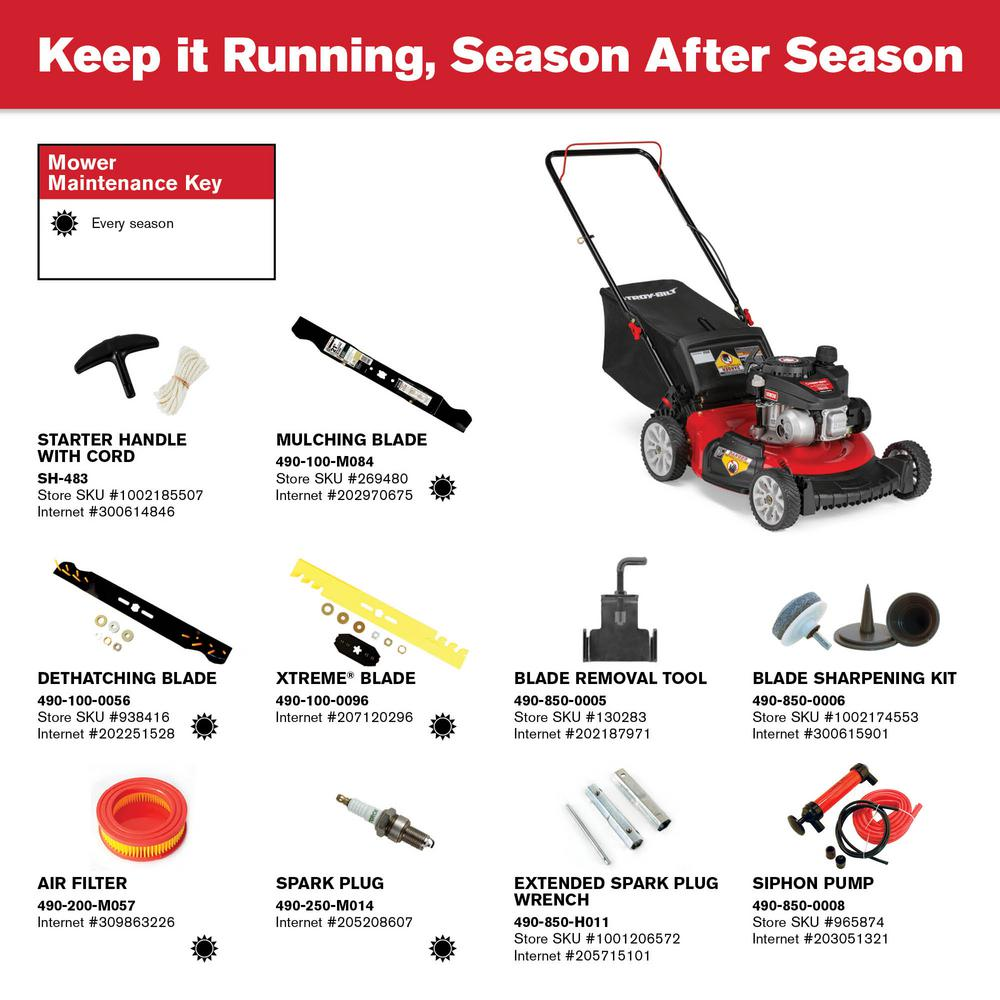 Troy Bilt 21 In 140 Cc Gas Walk Behind Push Mower With 3 In 1 Cutting Triaction Cutting System Tb115 The Home Depot