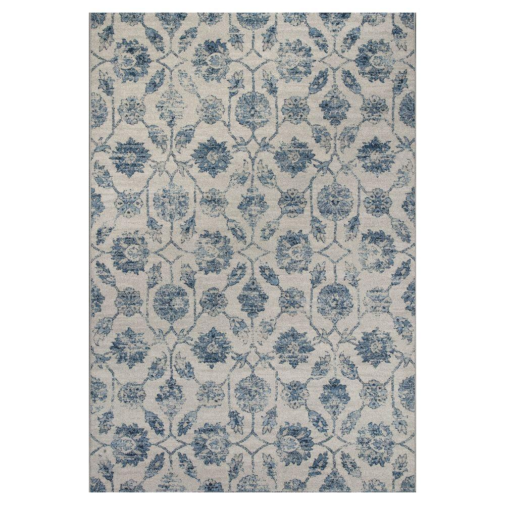 Vintage Effect Rug: Kas Rugs Vintage Treasures Ivory/Blue 6 Ft. 7 In. X 9 Ft