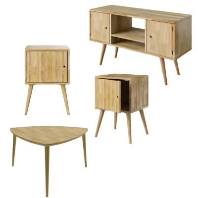 Freemont 4-Pc Solid Wood Set -- 2 Storage End Tables, Triangular Cocktail Table and Entertainment Cabinet in Natural