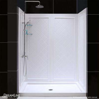SlimLine 32 in. x 60 in. Single Threshold Shower Base in White Center Drain Base with Back Walls